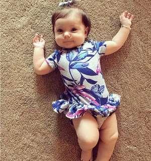 🚚 ✔️STOCK - BLUE WILD FLOWERS GREY ROMPER DRESS NEWBORN BABY TODDLER GIRLS KIDS CHILDREN CLOTHING