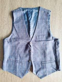 Clearance Loose Stocks Groomsmen Vest Blue Checked European