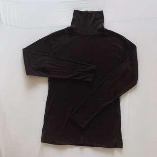 日式高領針織上衣 長䄂薄毛衣 保暖內搭衣 二手