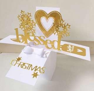 Blessed merry Christmas gold handmade card