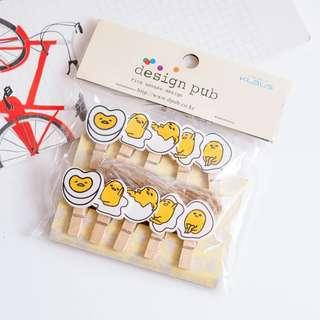 Gudetama Tiny Pegs for photos/paperclips