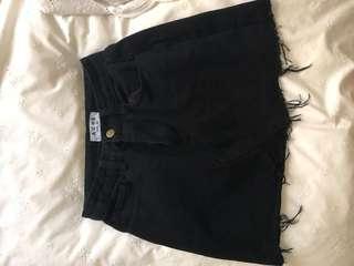 Bronze Snake Black Denim Skirt