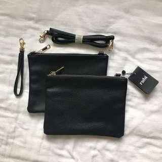 Cotton On Rubi Black Double Pouch Sling Bag