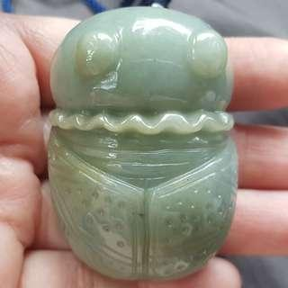 Certified Type A Jadeite Pendant Display Yellowish Green Jade Ladybird