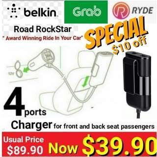 GRAB/ RYDE Driver Special - BELKIN ROAD ROCKSTAR 4-PORT USB Charger for Driver/Passengers. $10 off $39.90