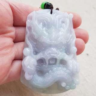 Certified Type A Jadeite Pendant Duo-Color Lavender Green Dragon Jade 龙