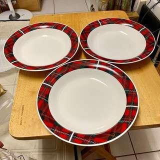 🚚 全新 韓國製 經典蘇格蘭格紋 骨瓷 餐盤 3件組 直徑22公分 可微波 可入洗碗機