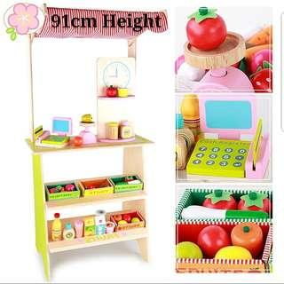 (Free Delivery) Wooden Supermarket Stand with Fruits, Vegetables and Cash Register Cashier Shop Cart