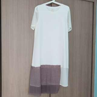 Rococo白色拼啡色連身長裙