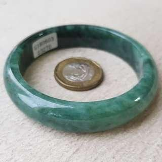 55mm Certified Type A Jadeite Bangle Floral Green