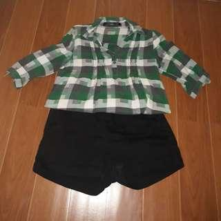 CLN Green Checkered Polo