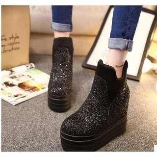 🚚 厚底增高亮片 鞋 短靴 可換物