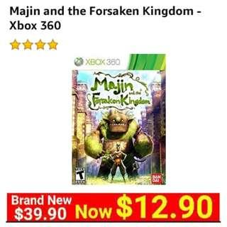 Xbox360 Majin and the Forsaken Kingdom.  Usual price $39.90 Special $12 90 (Brand New in box and sealed )