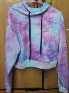 Zaful Tie Dye Cropped Hoodie