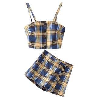 🚚 Po: retro honey blue tartan checkered two piece set