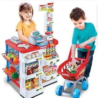 Supermarket Stand with Trolley Scanner Cash Register Cashier Fruits Vegetables Toy Set