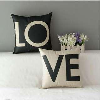 Sarung bantal import LOVE  (45x45) cotton linen
