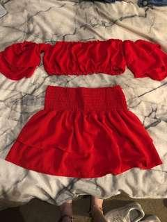 Red crop and skirt set