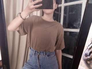 Tshirt top kaos pendek blouse army coklat