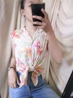 Blouse sleeveless top tropical