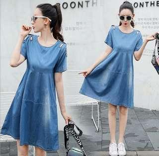 🚚 SN853 韓版休閒 寬鬆薄款牛仔連衣裙