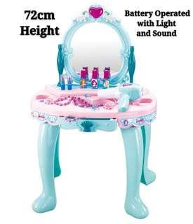 Blue Princess Girl Dresser Makeup Dressing Table with Light Sound and Battery Operated Hairdryer Toy Set