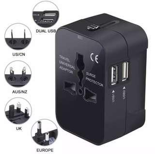 Universal travel adapter with dual USB port charger plug converter