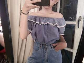 Sabrina ruffle jeans pendek