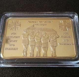 WW2 German Deceased Soldiers Commemorative Gold Plated Bar/Token