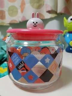 Line Friends× Sanrio 零食玻璃瓶(因零食已取走所以二手)