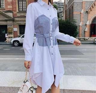🚚 S5300韓版秋裝 翻領拼接不規則連衣裙(2色)