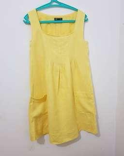 Dress kuning bahan tekstured