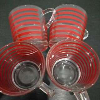 4 Sets Sweet Red Strip Glass With Ears