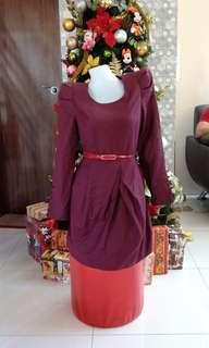 Maroon Formal or Office Dress