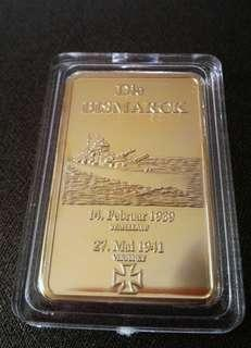 WW2 German Battleship ~ Die Bismarck Commemorative gold plated Bar/Token