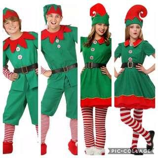 IN STOCK Christmas elf costumes adult kids green elf costume Christmas costume Christmas party dress up