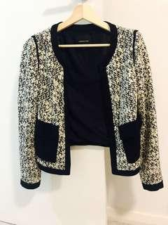 Tweed Pattern Black White Chanel Style Jacket Blazer