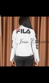 Jaket Fila Putih Jeans