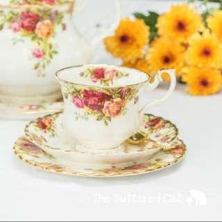 Vintage Royal Albert Country Rose trio #2, Factory Seconds