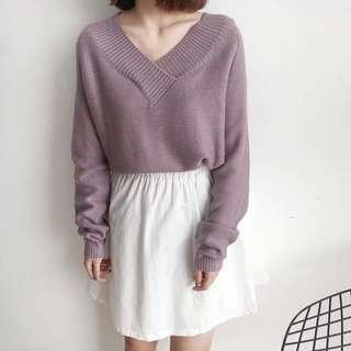紫藕色針織上衣