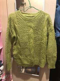 顯白復古毛衣-綠