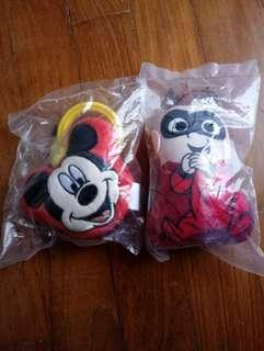 BNIP Mickey Mouse stroller toy and Incredibles wrist strap toy