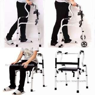 Walker support for elderly With Seat and Detachable Wheels with Armrest strong lightweight aluminum
