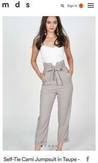 🚚 MDS Self Tie Cami Jumpsuit in Taupe