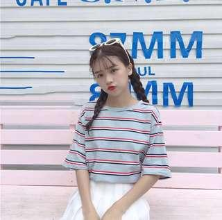 [PO] basic cute oversized stripe tee