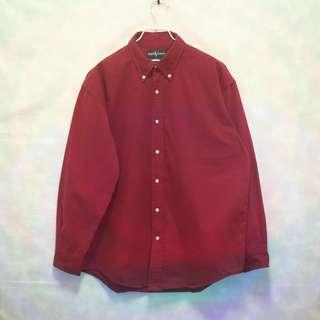 三件7折🎊 Ralph Lauren Polo 襯衫 長袖襯衫 紅 小深藍馬 極稀有 老品 復古 古著 Vintage