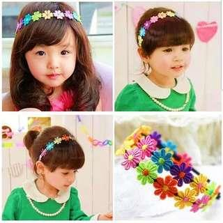 (B24) Rainbow Flower Princess Girl Headband Hair Clip Hair Band Accessories