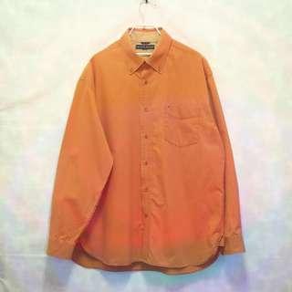 三件7折🎊 Tommy Hilfiger 襯衫 長袖襯衫 橘 胸前口袋 電繡logo 極稀有 老品 復古 古著 Vintage