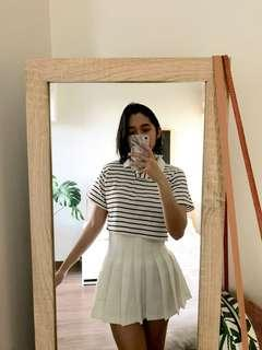 Striped polo cropped tee