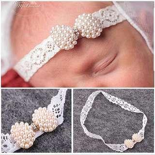 (B9) Pearl Princess Baby Girl Headband Hair Clip Hair Band Accessories